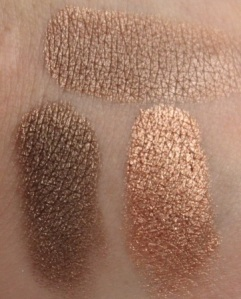Ulta Brilliant Color Eye Shadow in Taupe compared to L'Oreal Infallible in Bronzed Taupe (L) and Amber Rush (R)
