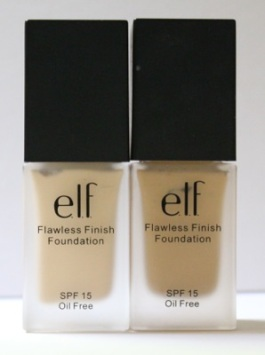 e.l.f. Studio Flawless Finish Foundation in (L) Porcelain and (R) Sand