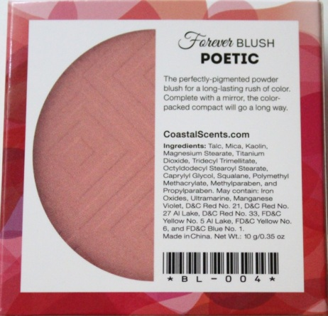 Coastal Scents Forever Blush Ingerdients