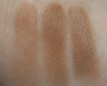 L-R: NYC Sunny, E.l.f. Tan Toffee, Too Faced Chocolate Soleil