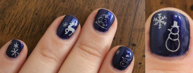 Winter Snow Themed Manicure