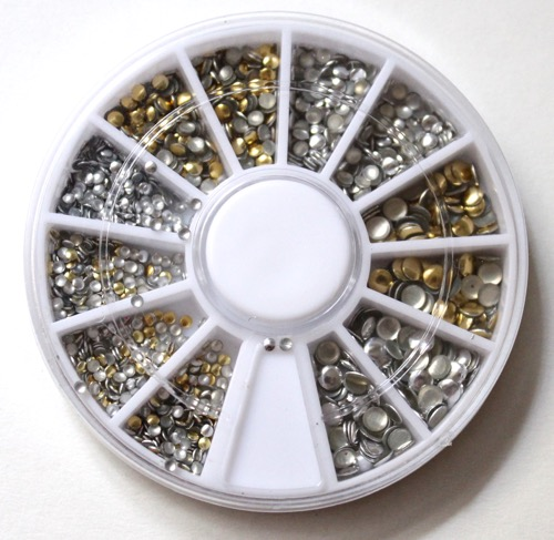 Born Pretty 500Pc Mini Gold and Silver Round Stud Box