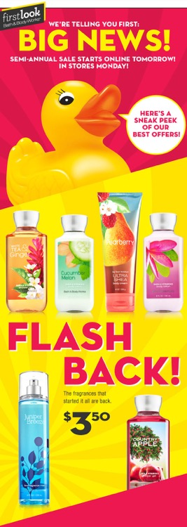 Bath & Body Works Semi-Annual Sale Summer 2015